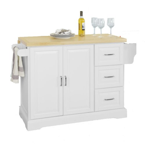 SoBuy® FKW41-WN, Extendable Kitchen Storage Trolley Cabinet Cupboard Sideboard Island