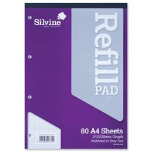 Silvine Refill Pad Headbound Perforated Punched Graph 2/10/20mm 75gsm A4 Ref -  silvine refill pad headbound perforated punched graph 21020mm 75gsm a4