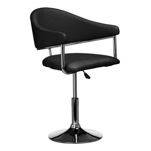 Premier Housewares Rush Black Leather Effect Restaurant Kitchen Cafe Bar Chair