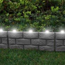 4 X Brick Effect Garden Edging with LED Light - Grey