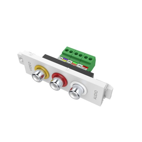Vision 3-PHONO MODULE - This 3-phono has interchangeable coloured rings to denote yellow / red / white (for