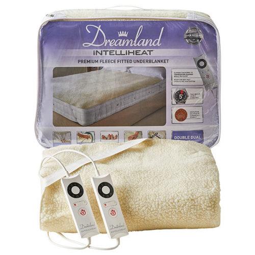 Dreamland Intelliheat Fast Heat Premium Soft Fleece Electric Underblanket, Natural, Double Size 150 x 137 cm, 2 Controls