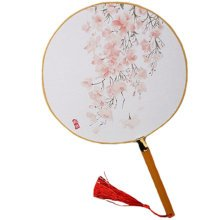2PCS Cotton Fabric Fan Print Decor Bamboo Handle Round Hand Fan, Flowers