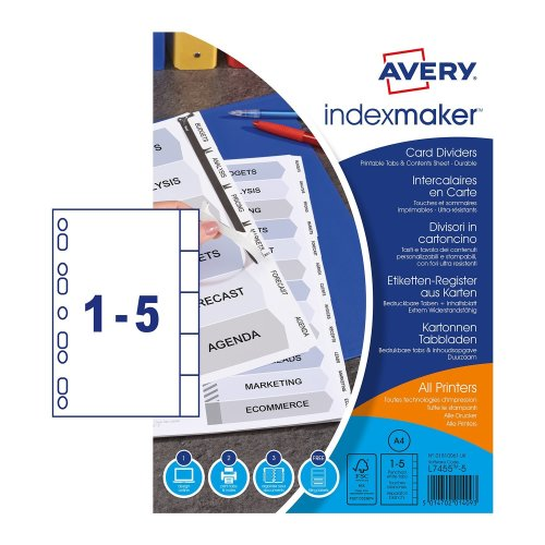 graphic relating to Printable Tabs named Avery 01810061 A4 IndexMaker Punched Card Dividers with Printable Tabs, 5 Component Dividers - White