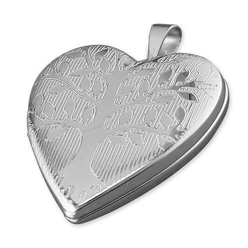 Childrens Sterling Silver Tree Of Life Pattern Heart Locket On A Curb Necklace