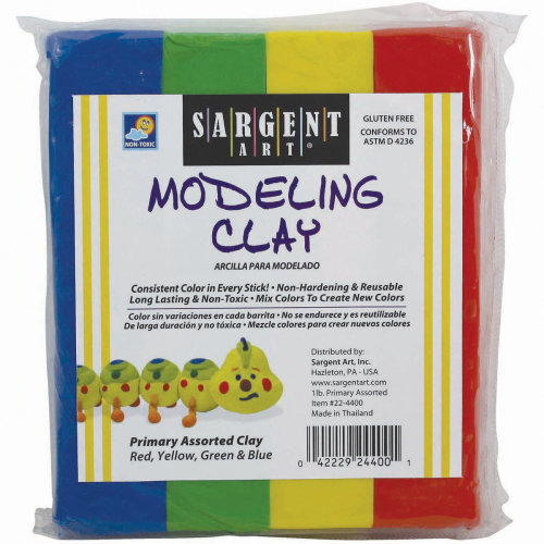 Non-Hardening Modeling Clay 1/4lb Sticks 4/Pkg-Blue, Green, Yellow & Red