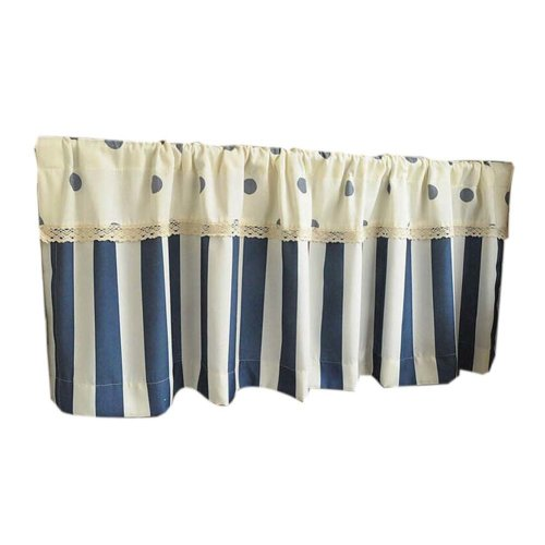 Cafe Curtain Window Valance/Lovely Curtain, Blue&White(130*45 cm)