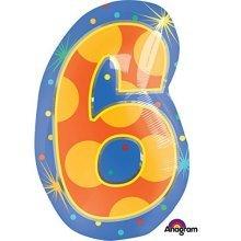 Confetti Dots Number 6 Junior Shape Foil Balloons 14/35cm W x 20/50cm H S60 -