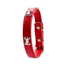 Adjustable Dogs Collar With Little Bone Charm RED(Fit 29~36 neck)