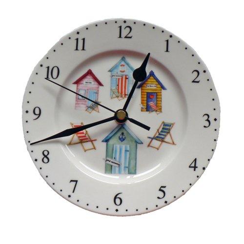 "Beach hut clock - 6"" beach hut design ceramic wall clock"