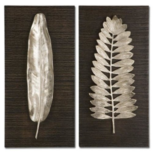 Uttermost 04001 Silver Leaves, Set of 2 - Mdf-Aluminum