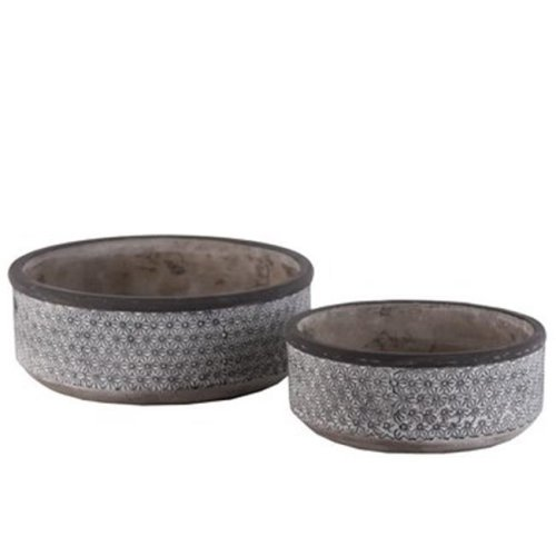 Cement Low Round Pot with Lattice Floral, Gray - Set of 2