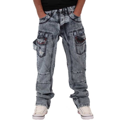 Peviani Mens Fleet Star Bleach Wash Denim Jeans