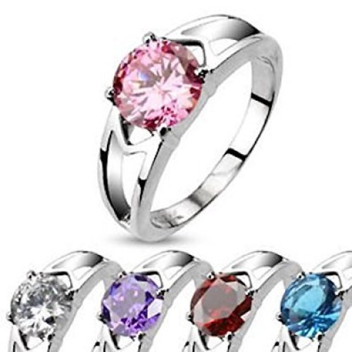 Solitaire Prong Set Crystal Hollow Stainless Steel Ring 7mm Width