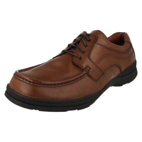 Mens Clarks Casual Shoes Line Action - Brown Leather - UK Size 10H - EU Size 44.5 - US Size 11W