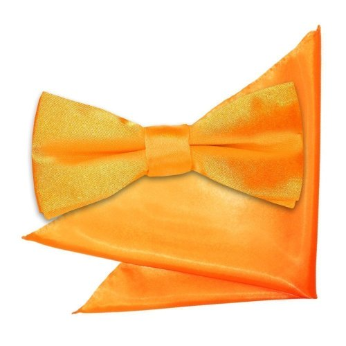 Fluorescent Orange Plain Satin Bow Tie & Pocket Square Set for Boys