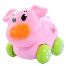 Set of 2 Wind-up Cute Pig Car Toy for Baby/Kids(Multicolor)