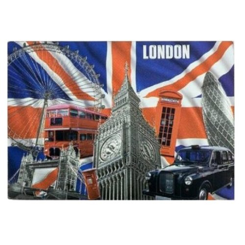 Capital London Fridge Magnet Foil Stamped Souvenir Gift Scenes Collage Montage Union Jack Flag UK GB