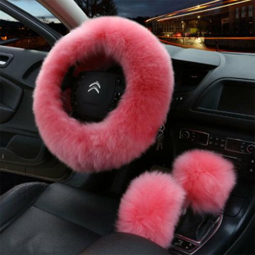 3Pcs Warm Soft Plush Wool Steering Wheel Cover Furry Fluffy Car Accessory Set