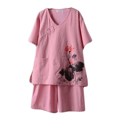 Short Pajamas Suit Cotton Khan Steam Clothes Chinese Style Pattern Sleepwear Sui