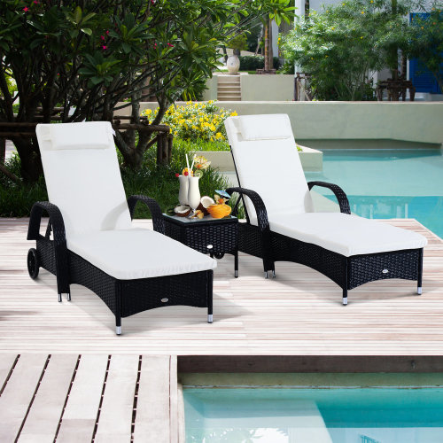 Outsunny Rattan Recliner Lounger Set-Black