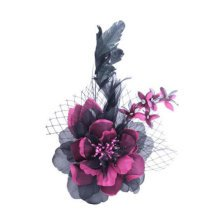 Womens Elegant Pin Brooches Hair Decor Feather And Cloth Flower Brooches, Rose Red