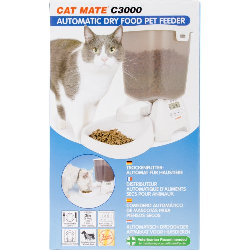 Cat Mate C3000 Automatic Dry Food Pet Feeder-White