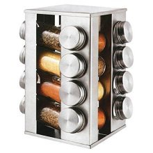 SQ Professional Gems Revolving Metallic Spice Rack with 16 Jars - Quartz