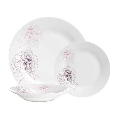 Avie 12Pc Flora Dinner Set, White & Purple