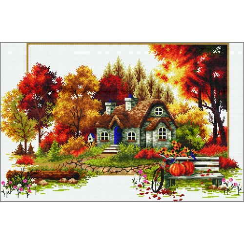"Needleart World No Count Printed Cross Stitch Kit 22.75""X16""-Autumn Cottage"