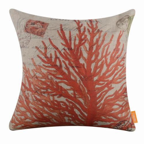 "18""x18"" Vintage Coral Burlap Pillow Cover Cushion Cover"