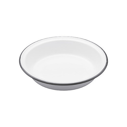 Kitchen Craft 20.5 x 3.8 cm Living Nostalgia Enamel Round Pie Dish, White/Grey