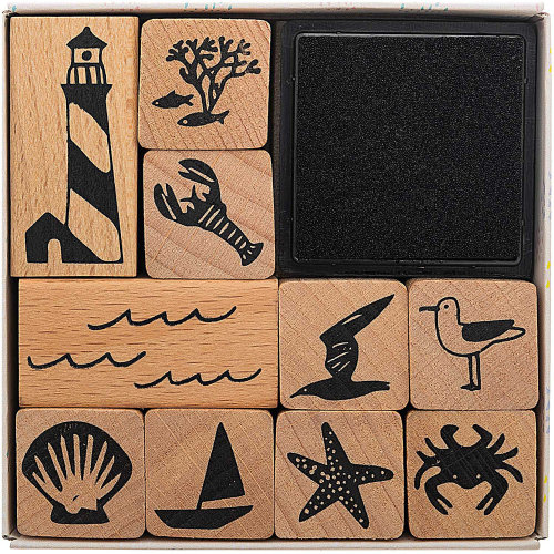 Maritime Stamp Set with 10 Seaside Rubber Stamps Craft Scrapbooking