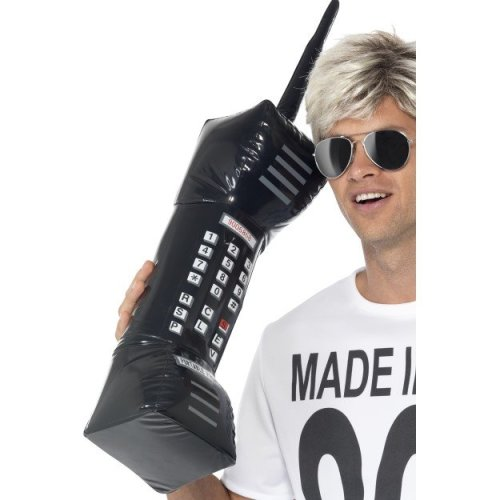 Smiffy's 30-inch Inflatable Retro Mobile Phone - Black - Fancy Dress Smiffys -  phone inflatable mobile retro fancy dress smiffys black 80s accessory