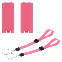 Battery cover & wrist strap kit for Nintendo Wii remote controller - 4 in 1 pack pink - ZedLabz