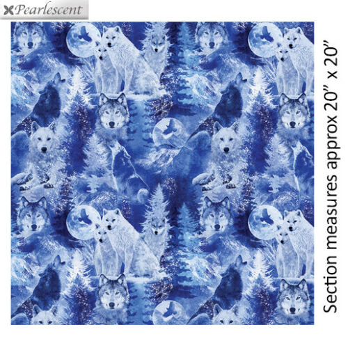 Fat Quarter Winter's Pearl Winter Wolves Cobalt Cotton Quilting Fabric Kanvas