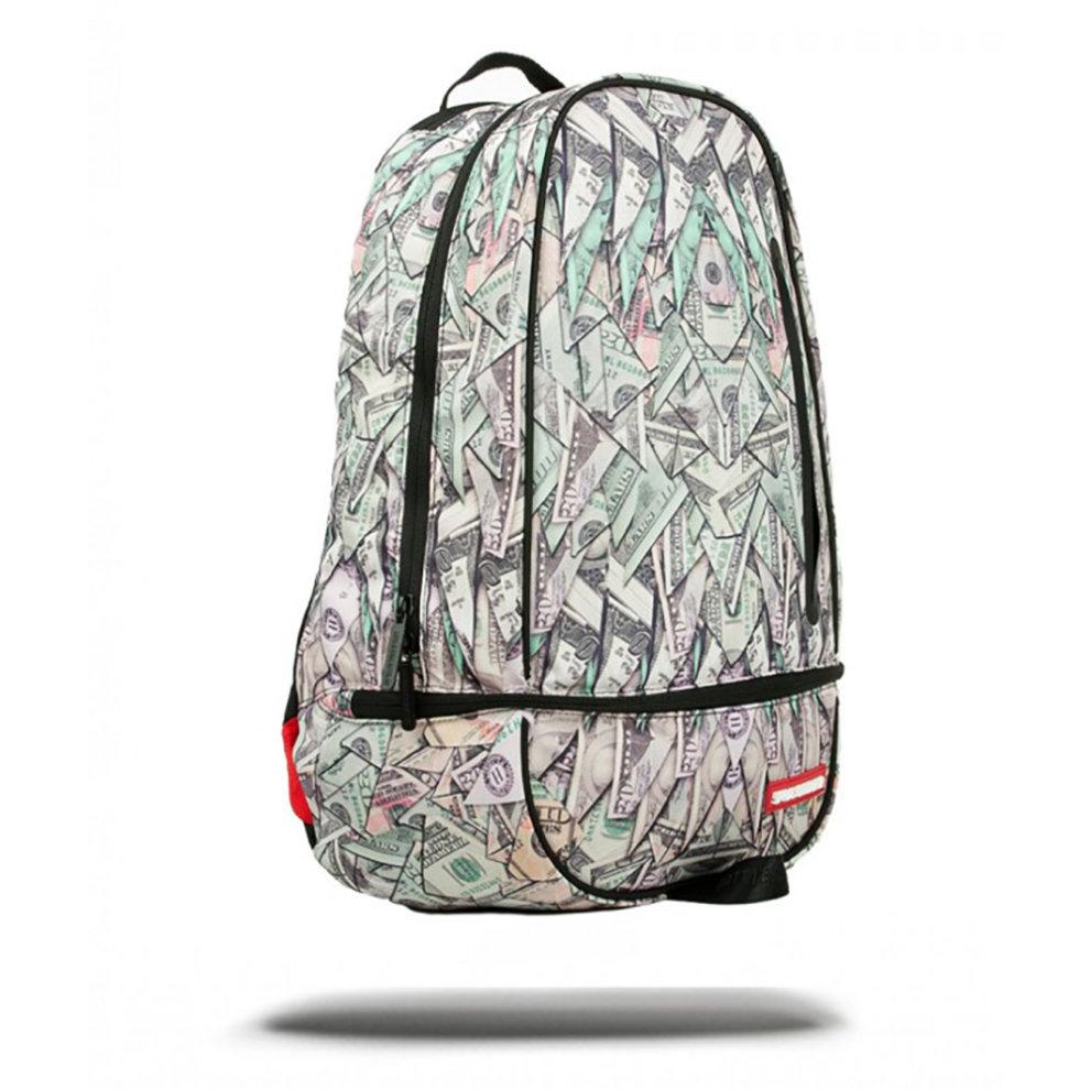 Green Sprayground Origami Money Trooper Backpack