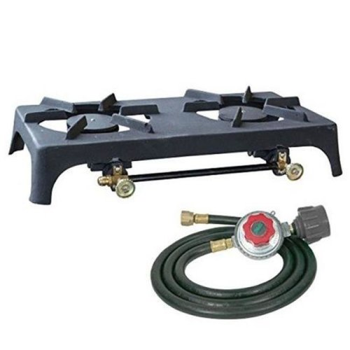 Sportsman Series DBCISHDKIT Double Burner Cast Iron Stove with Regulator Hose
