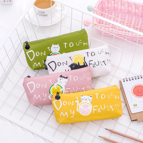 Kitten Cats with Fruit PU Leather Pencil Cases