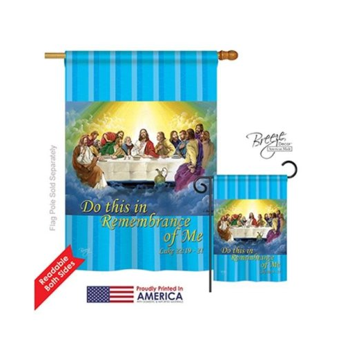 Breeze Decor 03045 Last Supper 2-Sided Vertical Impression House Flag - 28 x 40 in.