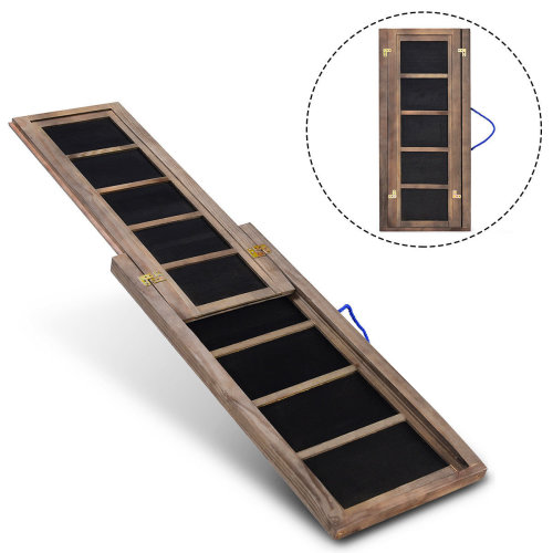 Wooden Pet Dog Ramp Telescopic Step Stairs Ladder