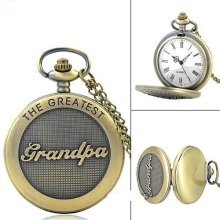 Antique Bronze Coloured The Greatest Grandpa Pocket Watch and Chain
