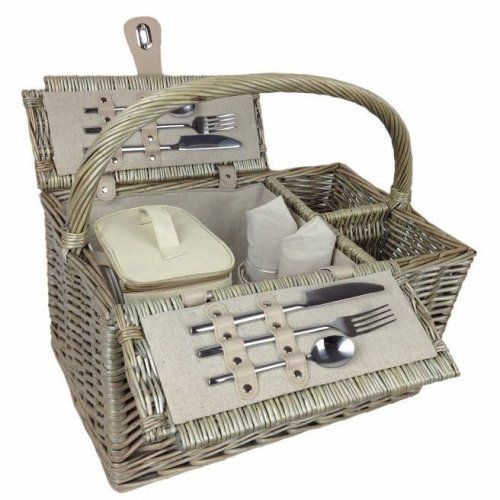 Deluxe Retro Double Lidded Wicker 2 Person Fitted Picnic Basket