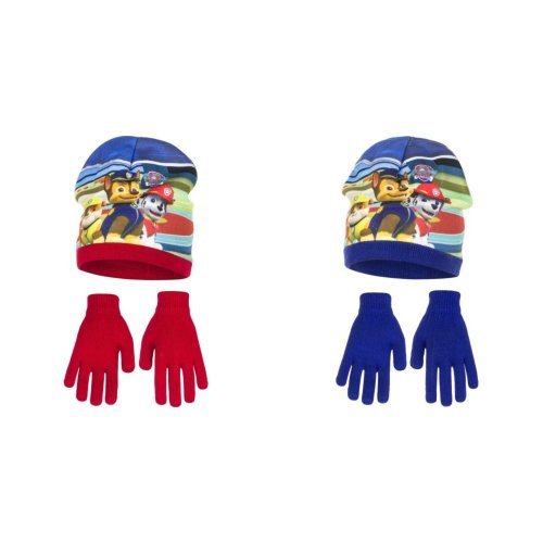 Paw Patrol Childrens Boys Winter Hat And Gloves Set