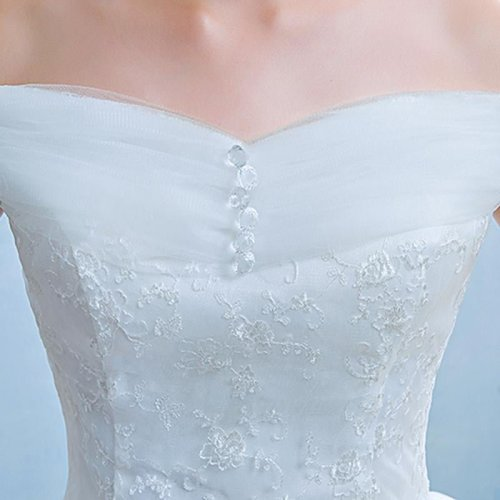 New Cheap Boat Neck White Bridal Gowns Princess Lace up Sex Romantic Wedding Dress Frocks HS244