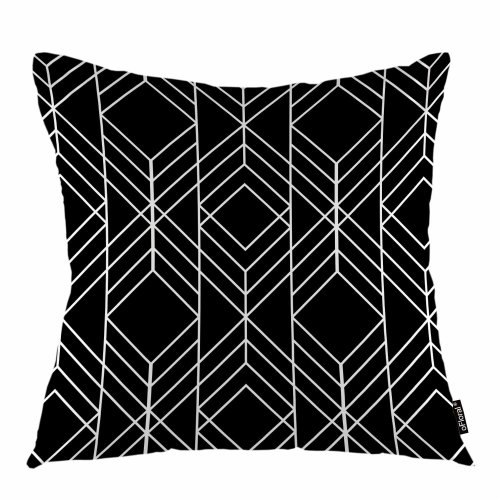 """Melyaxu Geometric Throw Pillow Cover Repeat Triangle Linear Tracery Decorative Square Pillow Case 18""""X18"""" Pillowcase Home Decor for Sofa Bedroom"""