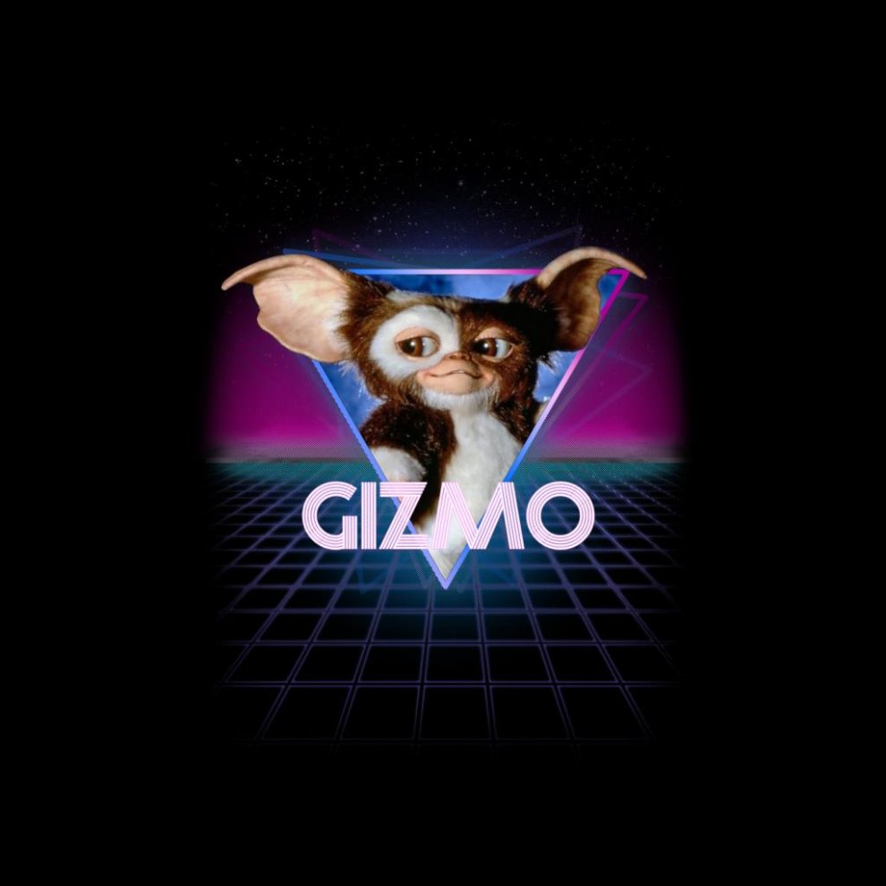 Gremlins Gizmo Retro 80s Neon Landscape Kid's T-Shirt