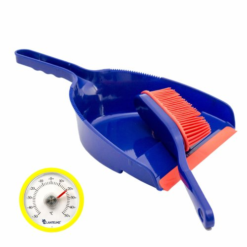 Lantelme Rubber Hand Brush and Dust Pan Dustpan And Rubber Broom Width: Approx. 22 cm and Analogue Thermometer Yellow