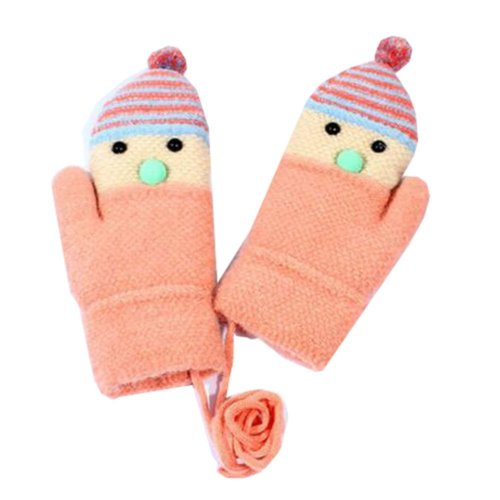 Star Double Thicken Warm Kids Gloves Knit Mittens (6-10 Years)