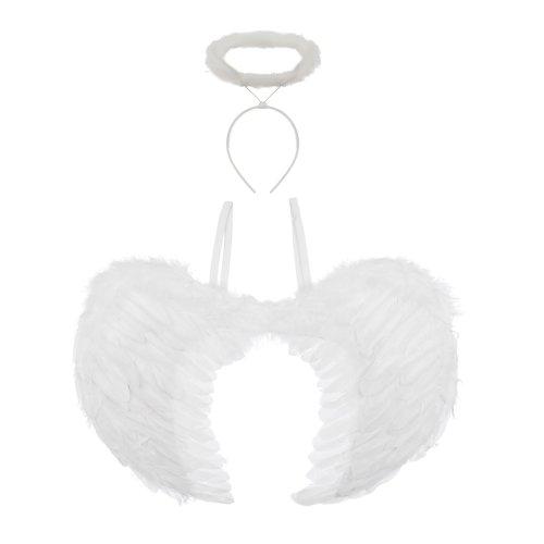 WHITE ANGEL FAIRY WINGS AND HALO HALLOWEEN FANCY DRESS